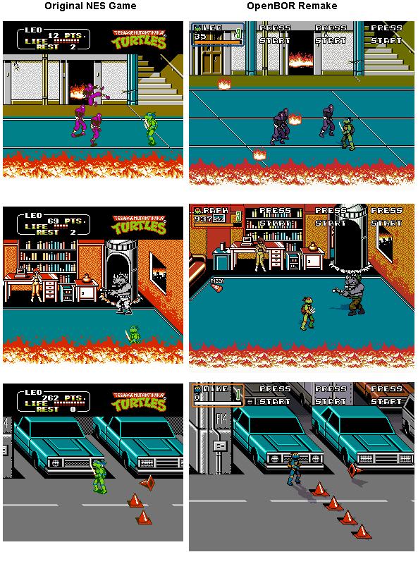 OpenBOR TMNT 2 NES Remake (Screenshot Comparison) by