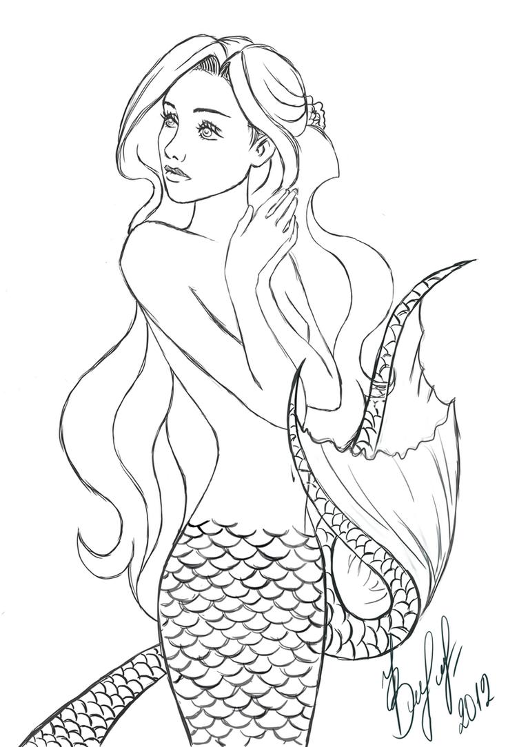 Mermaid Tails Drawing at GetDrawings | Free download |Mermaid Line Drawing