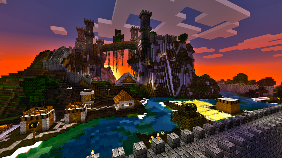 Minecraft Castle on a mountain by skrufor