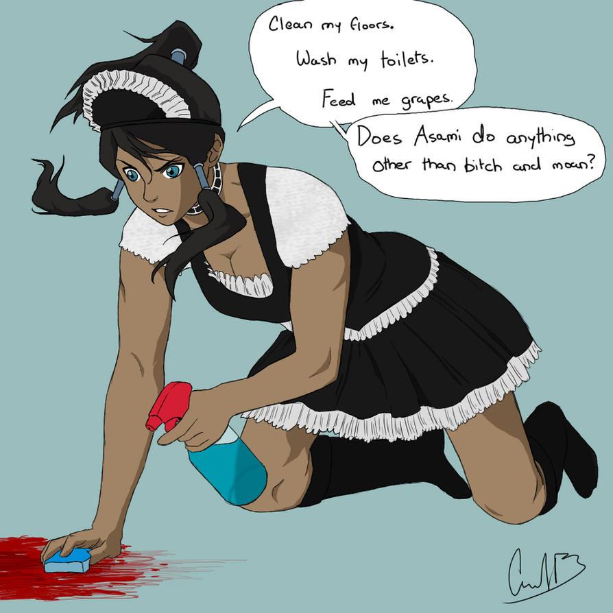 Korra cleaning blood off the floor by murrlogic1 on DeviantArt