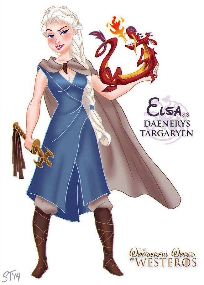 Elsa as Daenerys Targaryen by DjeDjehuti