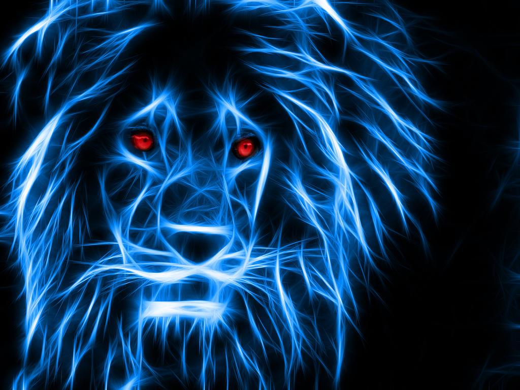 Blue Fire Lion Wallpaper