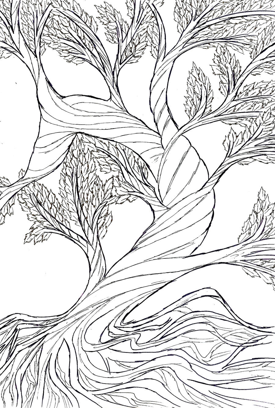 Line Art Of Tree : Smiling tree jpg digital image lineart by kathyahrens
