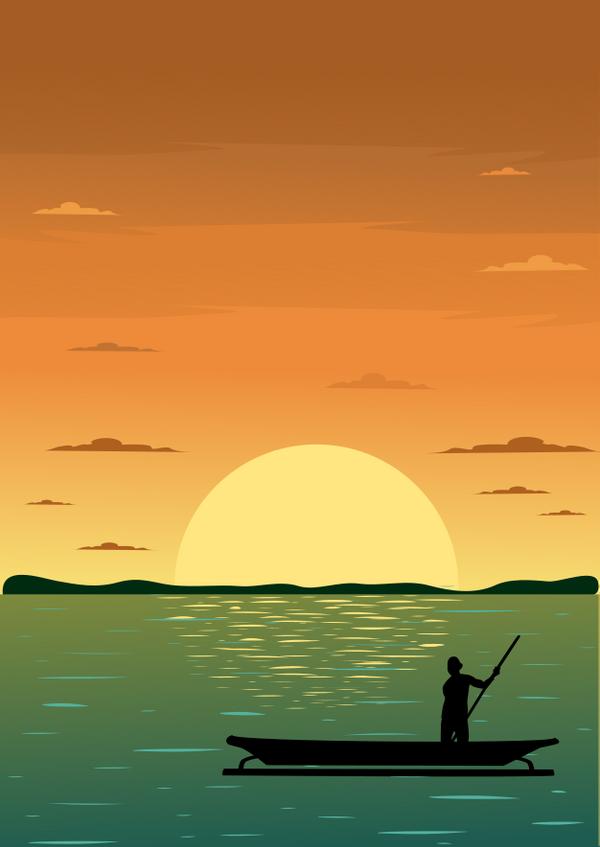 Sunset and fisher by zakazis