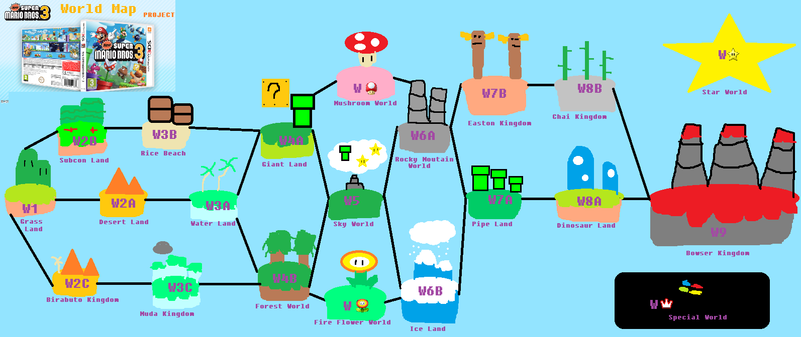 New Super Mario Bros 3 World Map PROJECT by UltimateGamer45 on ...