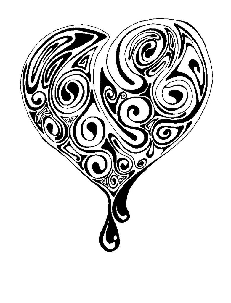 Heart black and white by moep424 on DeviantArt