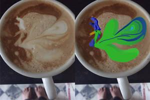 Pfau im Kaffeeorakel