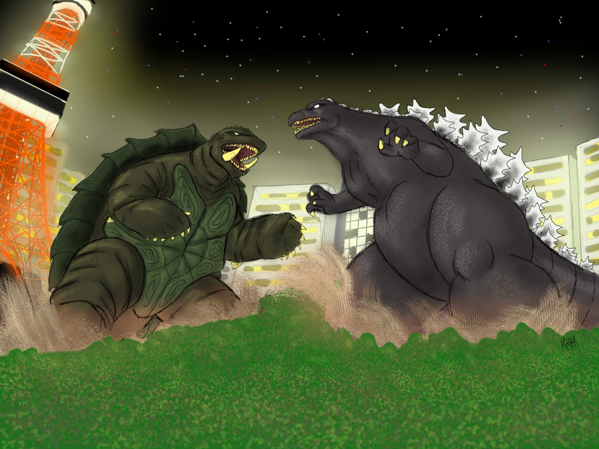 Godzilla vs Gamera by PickledGenius