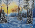 Snowy forest by Silverwolf1345