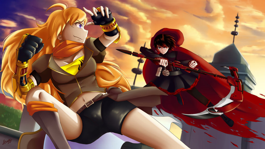 300 Watcher Celebration: Yang and Ruby Sparring 2 by ARSONicARTZ