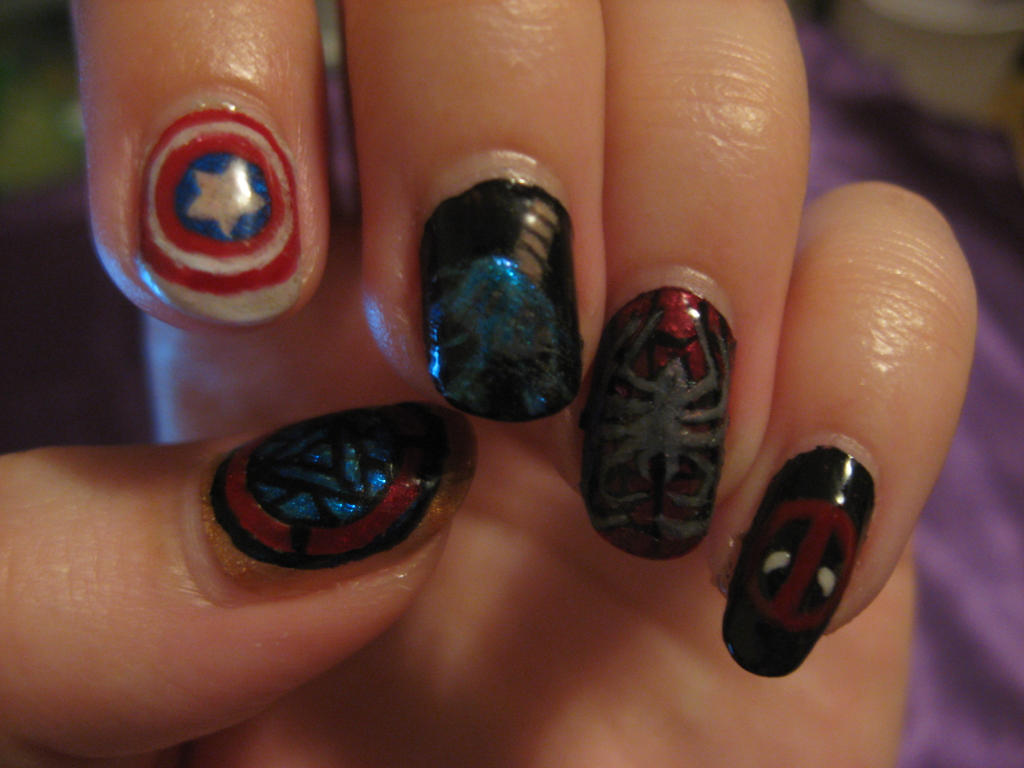 Superhero Nails by WigAddict