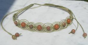 olive fishbone hemp necklace