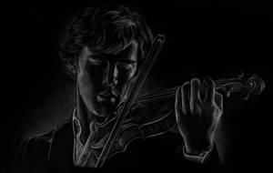 Sherlock playing the violin by Melnia