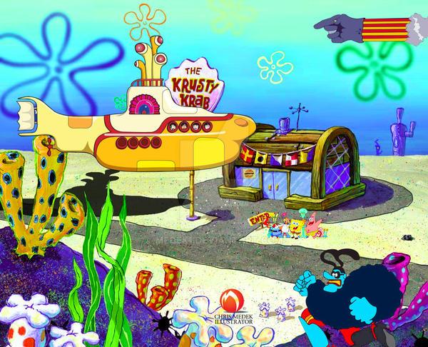 Yellow Submarine visits Bikini Bottom. by medek1