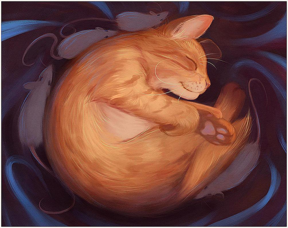 Sleepy cat by purrskill