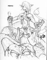 Mocha feeds - ink sketch by dmario