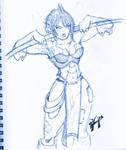 Warrior chick - ink pen sketch
