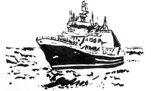 NIWA Tangaroa ink sketch