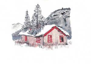 Casa na montanha com neve