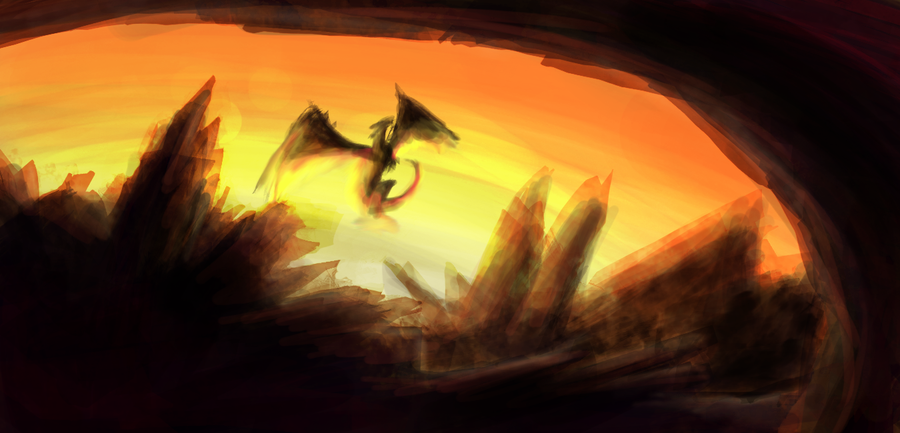 Sunset Dragons by Hellzangel83 - Fanart Central |Dragons And Sunsets
