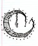 Music Moon Tattoo
