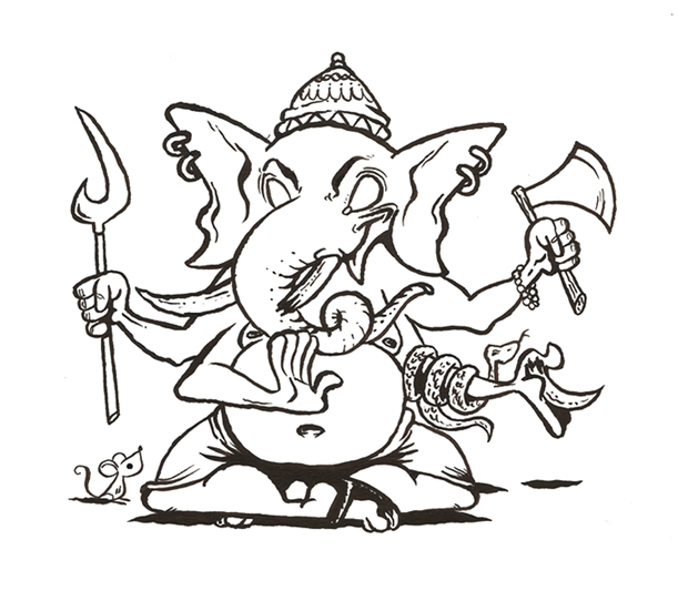 Ganesh Drawing Outline Ganesha outline by cefabuloso