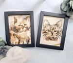 Kitty Cat Watercolor Small Framed Drawings by Fiolettakk2