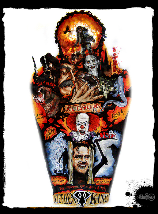 Stephen King Tattoo Sleeve by RavenMedia