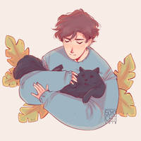 Oikawa w/ a fluffy cat by soyochii