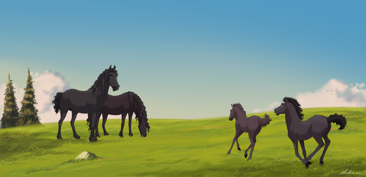 Friesian Family by Wild-Hearts