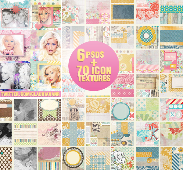 Twitter Exclusive 70 Icon Textures + 6 icon PSDs by Missesglass