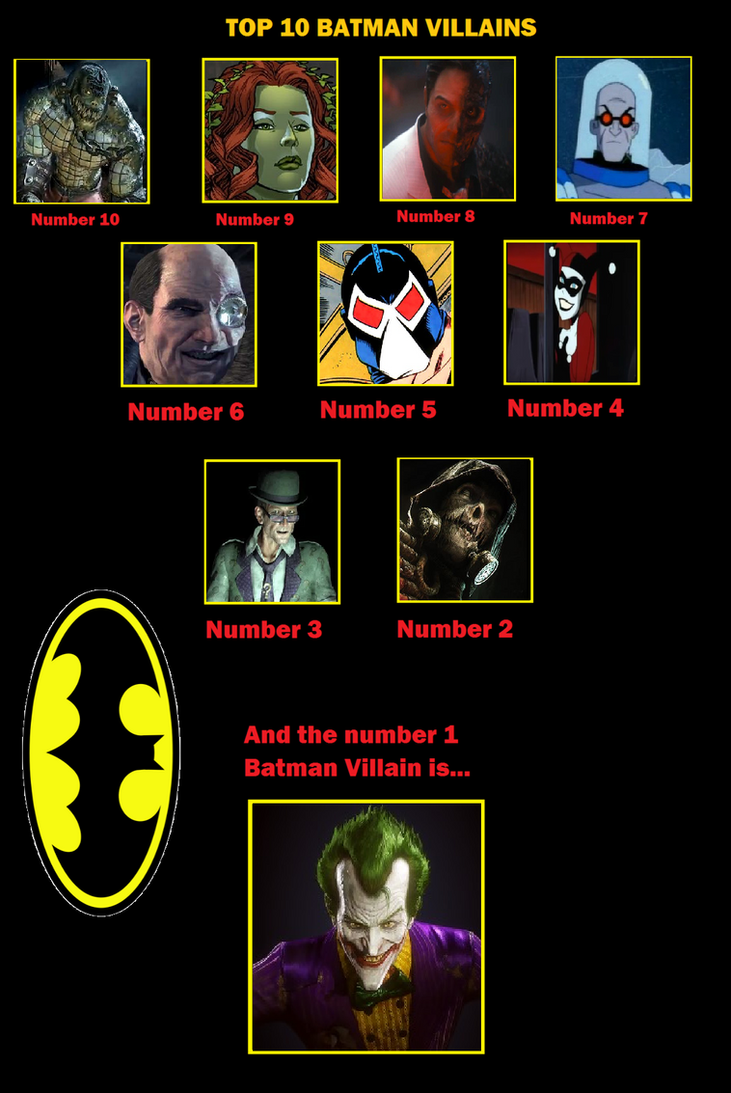 Top 10 Batman Villains by GodzillaFan1234