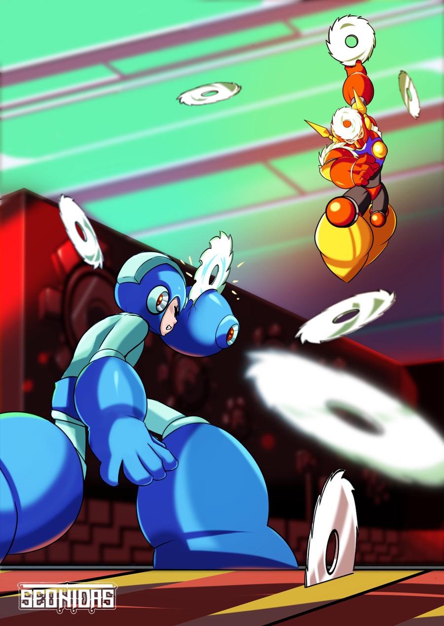Mega Man vs Metal Man by Seonidas