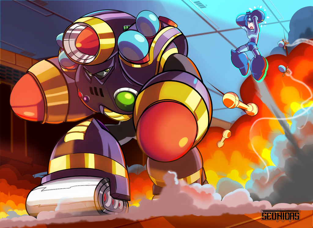 Napalm man vs Mega Man by Seonidas