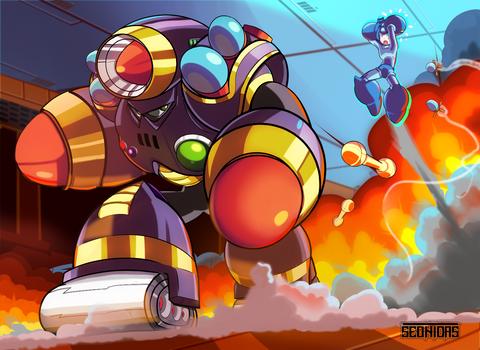 Napalm man vs Mega Man