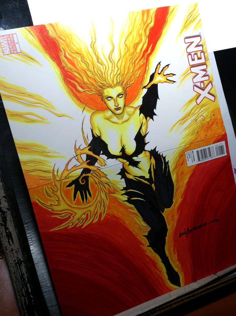 Phoenix commission on blank cover by stompboxxx