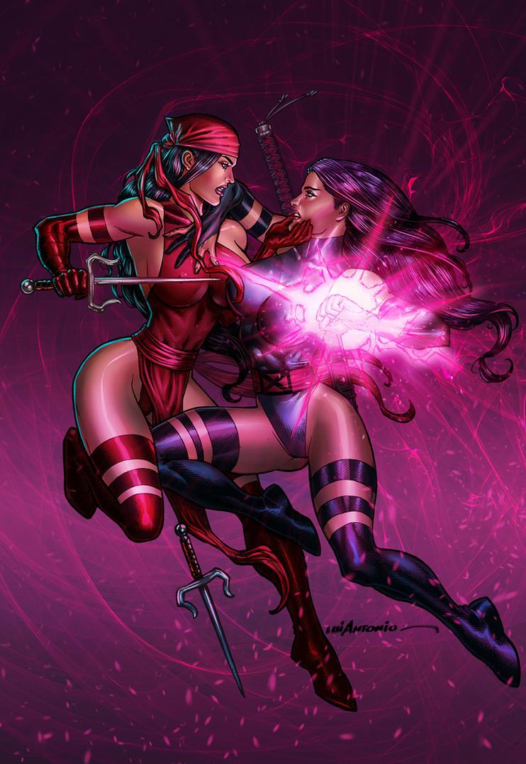 Electra vs Psylocke by stompboxxx