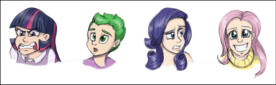 Humanized MLP: Expressions sketchdump 2 by FEuJenny07