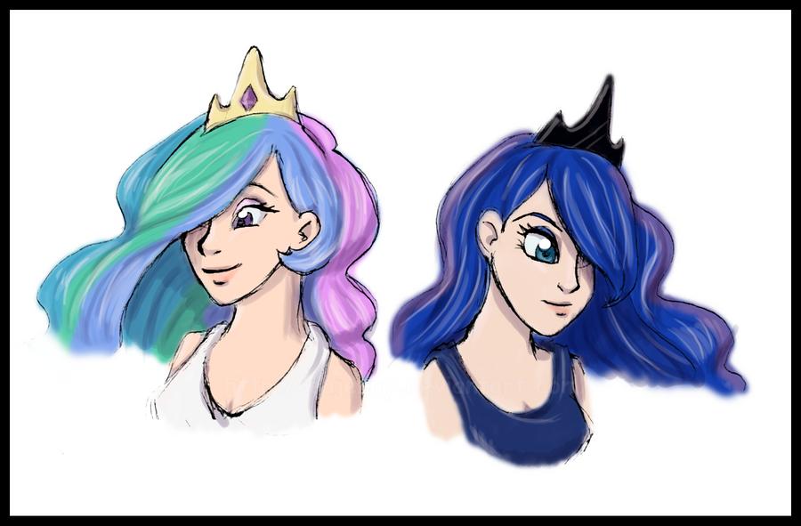 princess celestia and luna human