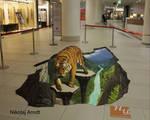 Tiger over the precipice.