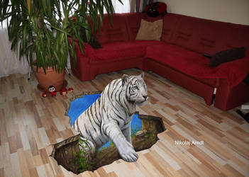 White Tiger (acrylic on canvas) by Nikolaj-Arndt