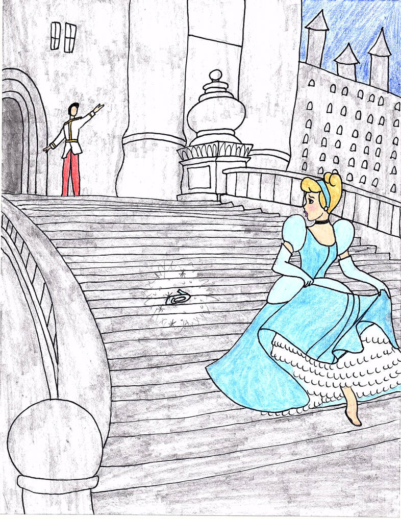 Cinderella Steps of the Palace Drawing by julietcapulet432