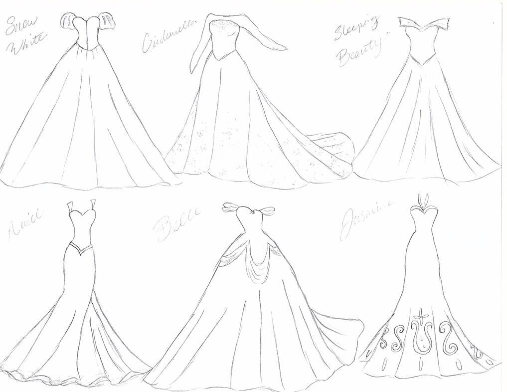 Disney Princess Wedding Dresses Sketch By Julietcapulet432