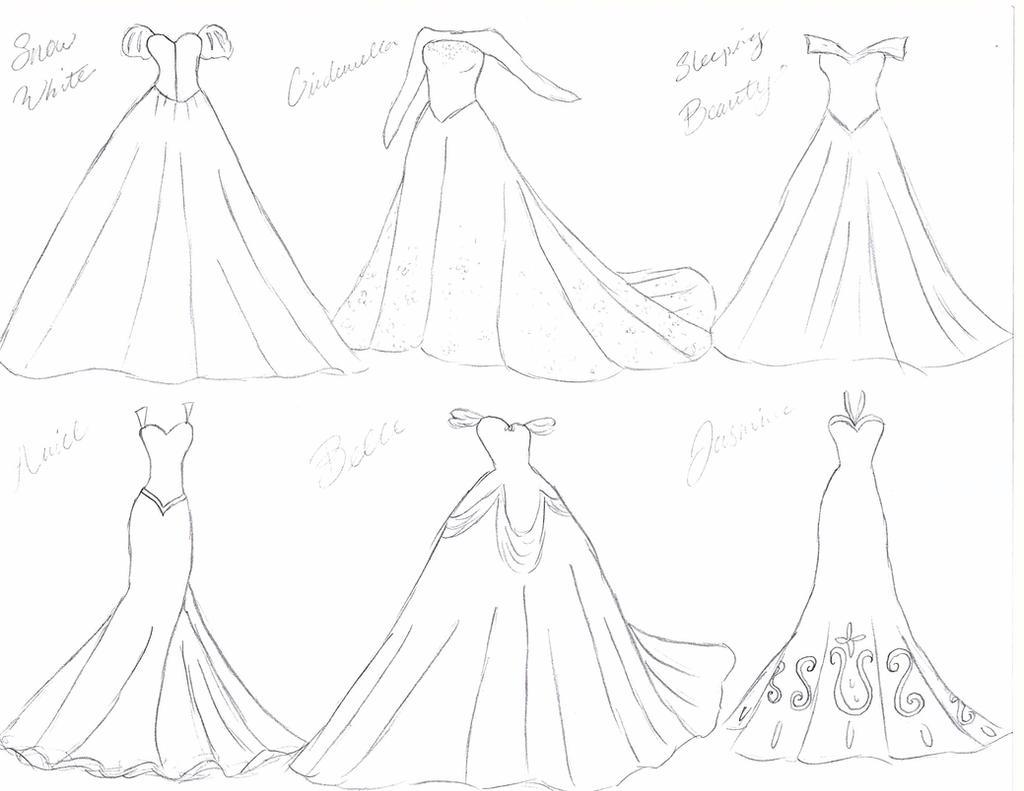 Disney Princess Wedding Dresses Sketch by julietcapulet432 on DeviantArt
