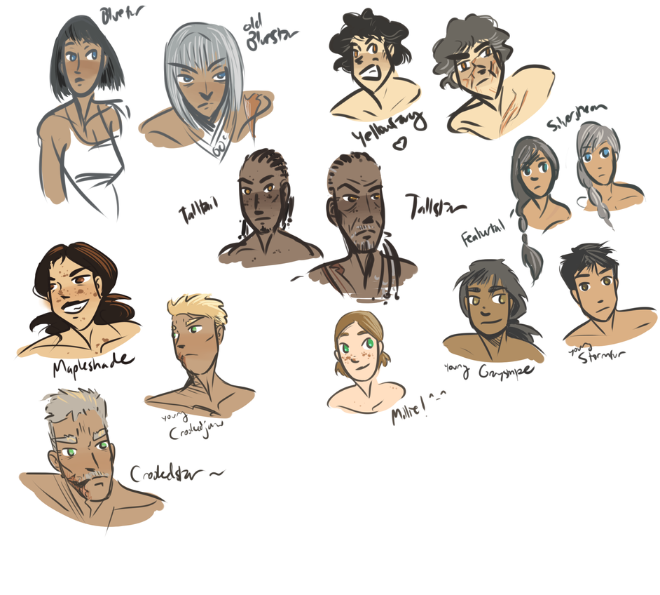 More Humanized Warrior Sketches By WhiteLilySong
