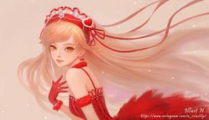 Commission illust Red dress