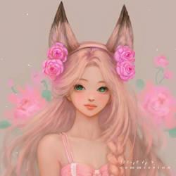 commission drawing _fox ear hairband girl.