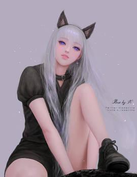 Black cat ear hairband girl