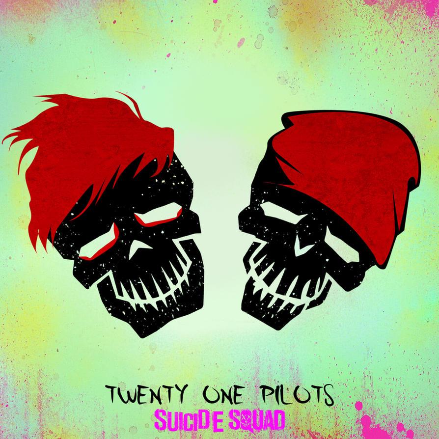 twenty one pilots suicide squad skull logo fanart by