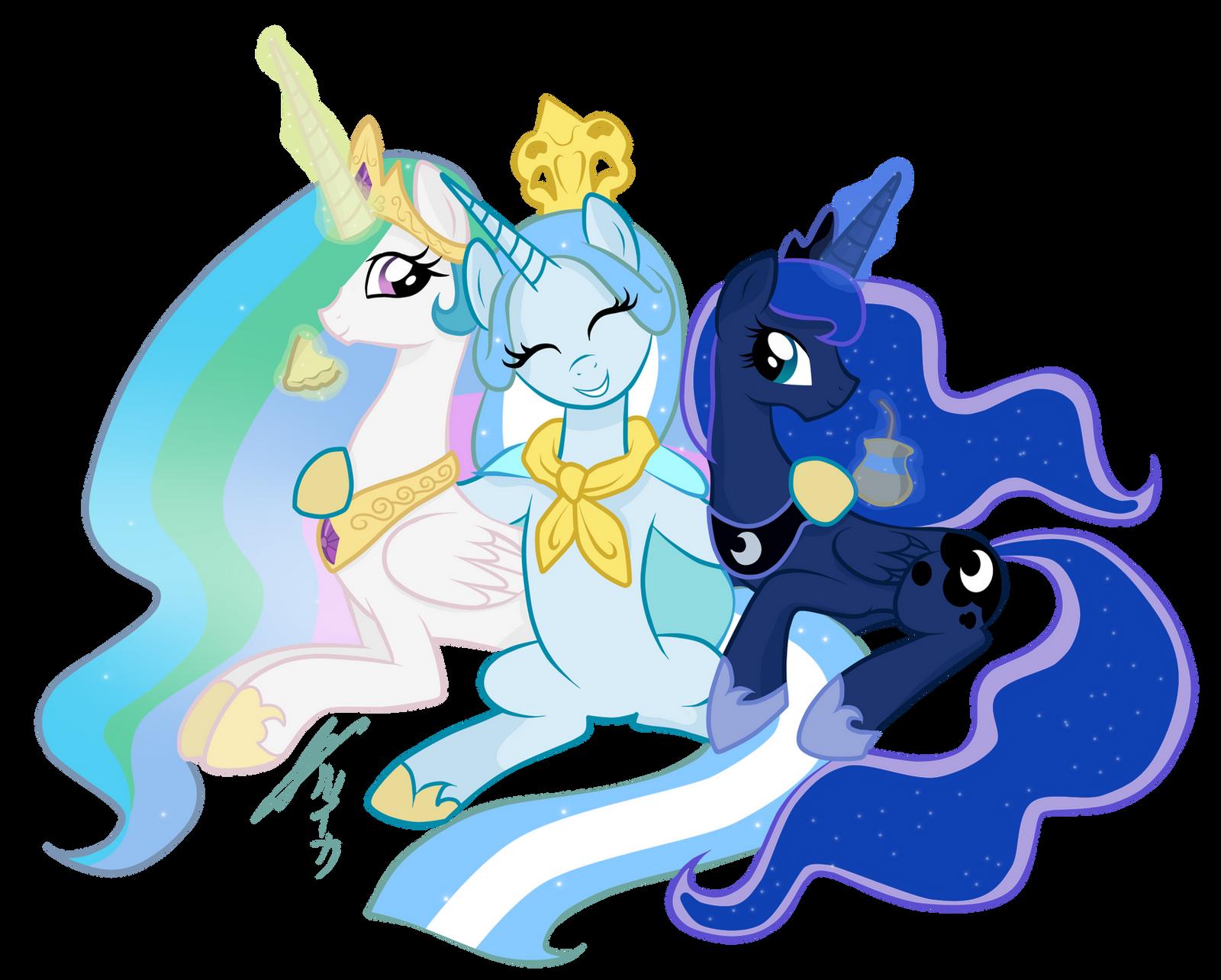 Princess Luna And Celestia With Princess Argenta~ By ...